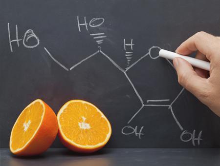 Kollagenaufbaufaktor Vitamin C - Strukturformel